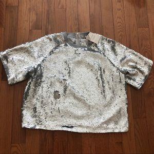 ASOS Silver sequin oversized t-shirt